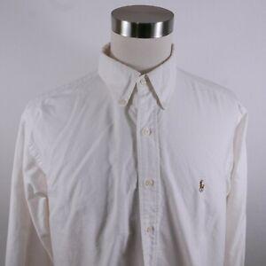 Polo Ralph Lauren Mens Cotton Yarmouth LS Button Up White Dress Shirt 17-34