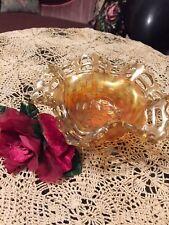 Depression Orange Bowl Basket Design Raised Design Inside Bowl Unique Vintage
