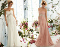 Stock Chiffon Sweetheart Beaded Bridal Gown Wedding Evening Bridesmaids Dress