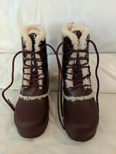 New Hunter Patent Leather Shearling Lined Rain Short Boots Burgundy Lds Sz 7
