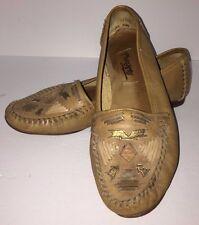 Womens Vintage 90s Moccasins 7B Pimento Leather Tan Biege Brown Hippy Boho/A7