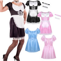 Mens Sissy Lingerie French Maid Uniform Shiny Satin Dress Fancy Costume Cosplay