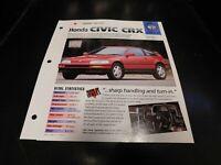 1988-1992 Honda Civic CRX Spec Sheet Brochure Photo Poster 91 90 89