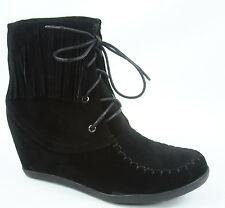 Women's Fashion Fringe Lace UP Low Wedge Sneaker Booties Shoes Size 5 - 10 NEW