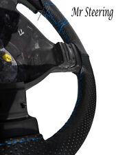 Per Vauxhall Zafira nero perforato in pelle Volante Copertura Blu Cielo ST