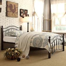 Twin Metal Bed Frame Platform Single Size Child Teen Dorm Room Headboard Black