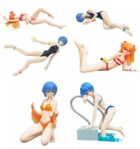 Set 6 Figure RAGAZZE da EVANGELION Bikini Girls PART 6 Originali BANDAI Gashapon