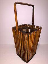 "Bamboo Tiki Style Decor Candle Holder Lantern Brown  10"" x 6"""