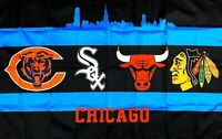 Chiacgo Bears White Sox Bulls Blackhawks Flag 3x5 ft Banner Man-Cave NBA NFL