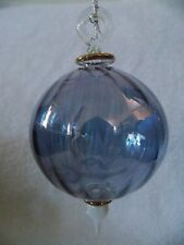 Glass Light Purple Blue With Gold Highlights Ball Shaped Christmas Ornament