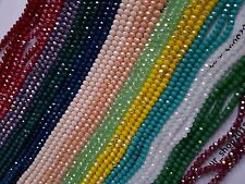 80 Faceted  3mm Rondelle Opaque Crystal Glass Loose Beads Jewellery making