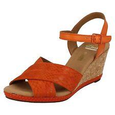 Femmes Clarks Orange Cuir Semelle Compensée Sandales- UK 6- Eu 39.5D