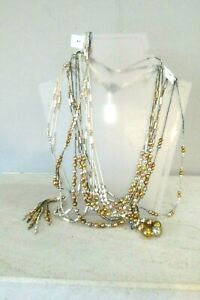 Job Lot 7 Silver & Gold Tone Gold Silk Necklaces Costume Jewellery Some BNWT 925