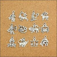 12Pcs Silver Dangle Beads Zodiac Charm Pendants Accessories For Jewelry Making