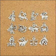 12Pcs Mixed Zodiac Charm Pendants Dangle Beads Jewelry For Making Accessories