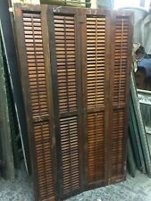 circa 1930-40 solid mahogany interior louvered shutters Panel 65� h x 37� across