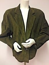 TALBOTS Suede LEATHER Jacket BLAZER Size Large AVOCADO Green Fully Lined