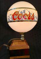 Vintage Coors Globe Light Beer Advertising Bar Back Lamp Sign Register
