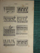 1845 ANTIQUE ARCHITECTURE PRINT ~ PARAPET NORMAN & EARLY ENGLISH ST MARY'S