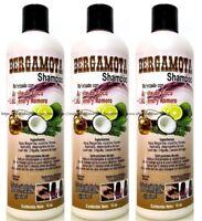 3x Bergamot Shampoo w/ Coconut Oil Collagen & Rosemary Bergamota Aceite Coco NEW