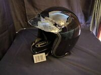 Fuel Adult Motorcycle Helmet Open Face Gloss Black DOT Approved