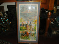 Stunning Color Lithograph Of Church Or Castle By Water-Detailed-Signed-LQQK