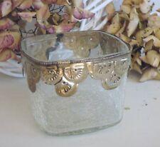 Windlich, Craquele Glas , Teelichtglas, Teelichthalter, Metall - Montur, 10 x 10