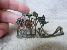 Vintage Large Train Roller Coaster Brooch Pin Detailed Whimsical EUC 3.25""