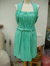 Escada generous aqua cotton silk mix dress Euro 34 US 4 UK 8  black GOLD label