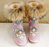 Womens Fur Winter Thicken Warm Knee Furry Snow Boot Mid Calf Rhinestone Shoes