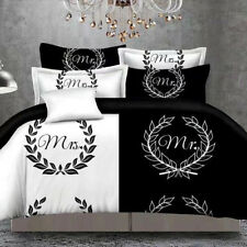 Mr And Mrs Black White Bedding Set Queen Size 3PCS Duvet Cover Sets Bedding New
