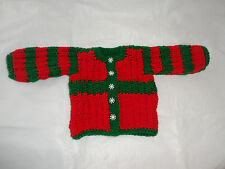 UNISEX.3/6 MONTH OLD.RED/GREEN.BABY CARDIGAN.HAND-KNITTED.XMAS.BRIOCHE STITCH