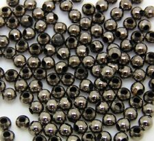 150 Pcs 3.2mm Smooth Black Coloured Spacer Beads Craft Findings FREE UK P+P E107