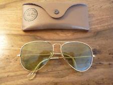 Vintage b&l Lunettes de soleil ray ban aviator photochromic vert gravé BL     BE