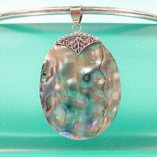 "2"" Oval Natural Abalone Paua Shell Pendant 925 Bali Sterling Silver Handmade"