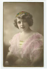 1910s Glamour Very PRETTY YOUNG LADY Beauty Beautiful photo postcard