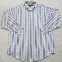 Ralph Lauren White Blue Yellow Dress Shirt Long Sleeve Large 16 32/33 Cotton Men