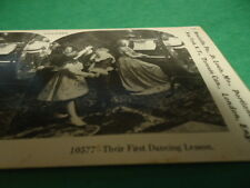 Stereoview Stereoscope Card of Children Getting Their First Dance Reprint 1978