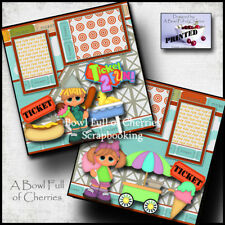TICKET 2 FUN ~  2 premade scrapbook pages paper piecing layout VACATION ~ CHERRY