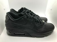 Nike Air Max 90 Mens Size 10 Triple Black Leather Essential Sneakers 302519-001