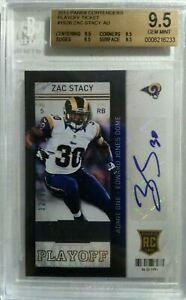 Zac Stacy 2013 contenders playoff ticket rookie auto # 12/99 bgs 9.5 rare hot rc