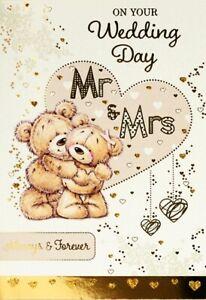 "Cute Classy Bears & Heart ""ON YOUR WEDDING DAY"" Congratulations Card"