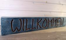 Willkommen - schwerer massiver Holzbalken mit gefräster Gravur, gebrushed, 58 cm
