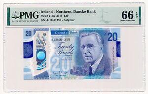 NORTHERN IRELAND (DANSKE BANK) banknote 20 Pounds 2018 PMG MS 66 Gem Unc