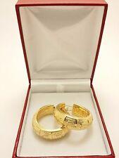 18k Solid Yellow Gold Grazeilla Italian Luxury Hollow Hoop Earrings 7.96 Grams