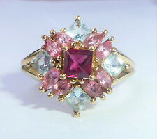 9ct Gold Ruby & Pink and Blue Topaz Dress Ring, Size O