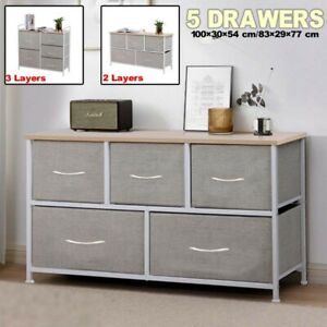 2/3Tier Chest of 5 Drawers Fabric Storage Wardrobe Bedside Cabinet Metal Frame V
