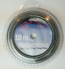 (0,19€/m) 10m Stahlvorfach Stahl 5kg, inkl. 8 Klemmhülsen, Nylon Coated Wire