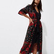Womens Riverisland New Black and Red Rose Kimono with slip dress Size 10