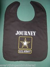U.S. US ARMY PERSONALIZED BABY BIB BIBS BLACK MILITARY Large + Embroidered Name